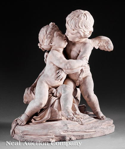 French Terracotta Group of Cupid and Psyche