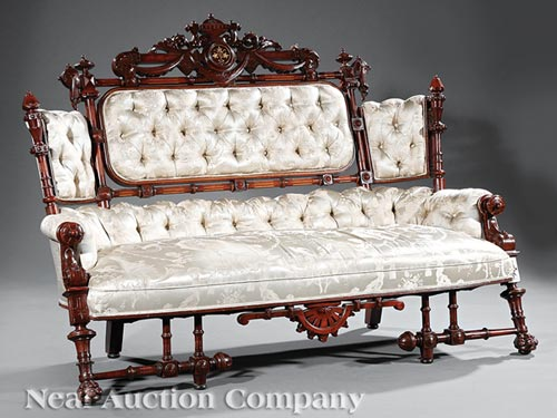American Walnut Gilt-Incised Sofa and Armchair