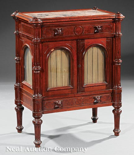 American Renaissance Carved Walnut Music Cabinet