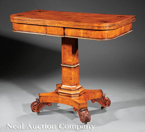 Regency-Style Figured Elmwood Games Table
