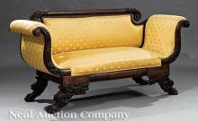 American Classical Carved Mahogany Settee