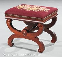 American Classical Carved Mahogany Curule Stool