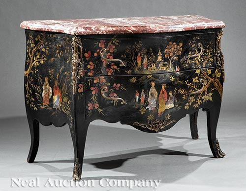 Louis XV-Style Gilt Chinoiserie Commode