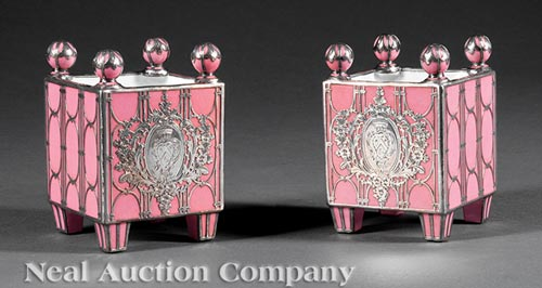 Pair of French Rose Pompadour Cachepots