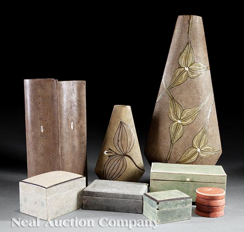 8 French Stingray and Shagreen Covered Vases