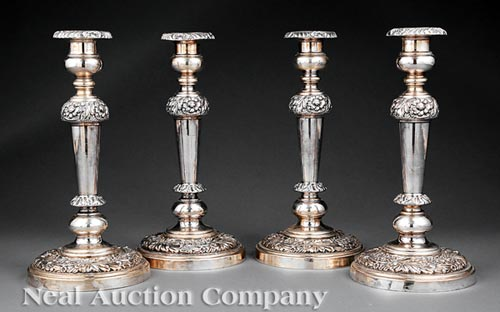 Four Regency Sheffield Plate Candlesticks