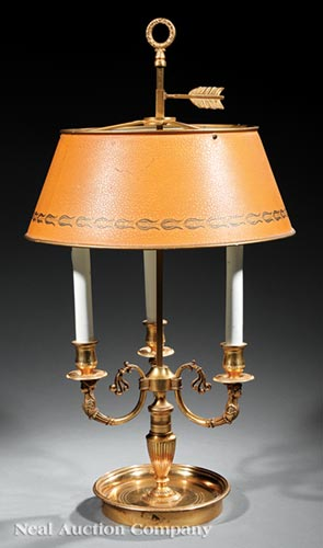 French Gilt Bronze Three-Light Bouillotte Lamp
