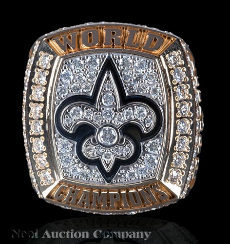 "Tiffany & Co. 14 kt. Yellow Gold and Diamond ""New Orleans Saints 2009 World Championship"" Super Bowl Ring"