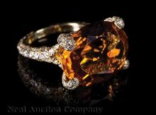 18 kt. Yellow Gold, Citrine and Diamond Ring