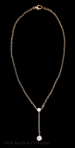 18 kt. Yellow Gold and Diamond Lavalier Necklace
