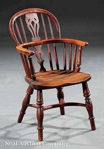 English Elm and Yewwood Child's Windsor Armchair