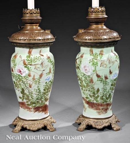 Pair of Continental Japanese Celadon Lamps