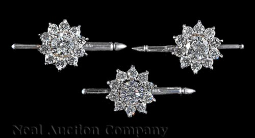 3 14 kt. White Gold and Diamond Gentleman's Studs