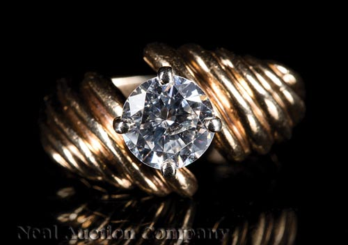 14 kt. Yellow Gold and Diamond Engagement Ring