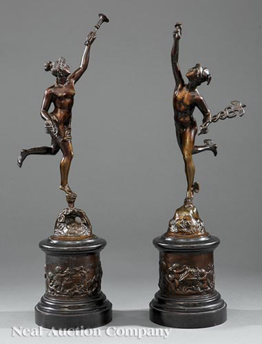 Figures of Mercury and Fame, after Giambologna