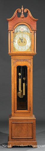 American Oak Tall Case Clock