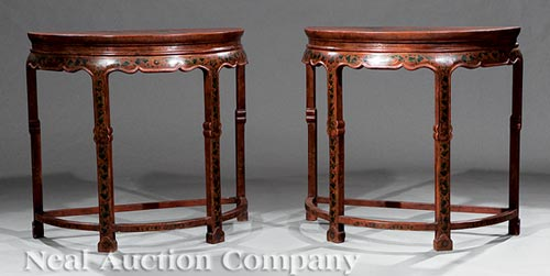 Pair of Chinese Red Lacquer Console Tables