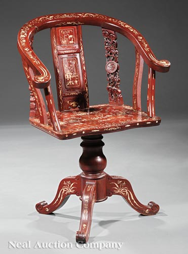 Chinese Carved and Inlaid Hardwood Swivel Chair