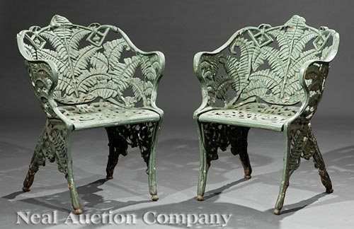 Pair of American Cast Iron Fern Armchairs