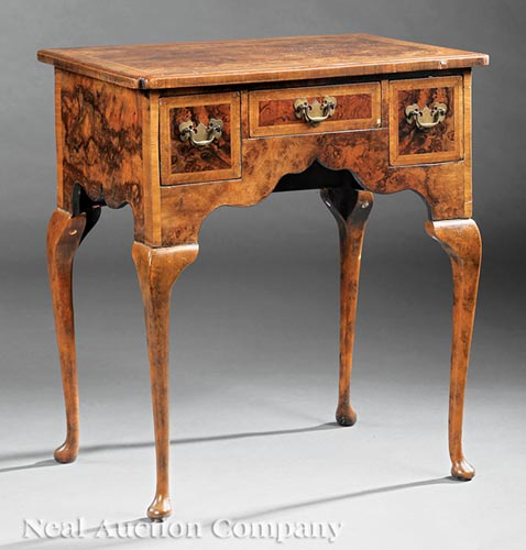 Antique George II-Style Burled Walnut Lowboy
