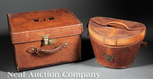 Two Antique Leather Hat Boxes