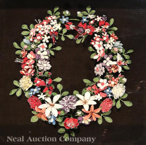 Victorian Woolwork Wreath