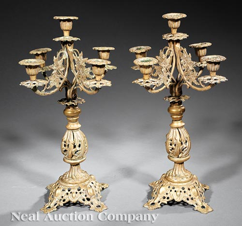 Pair of Mexican Brass Five-Light Candelabra