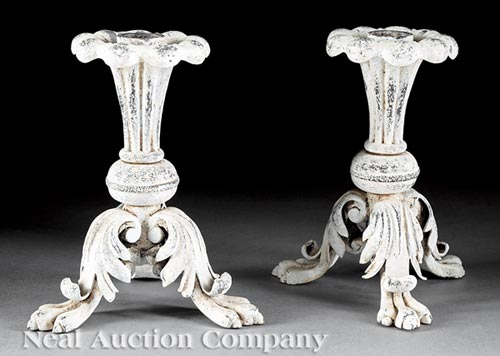 Pair of Italian Painted Cast Iron Candlesticks