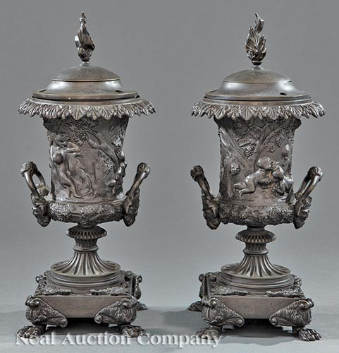 Pair of English Patinated Bronze Argand Lamps