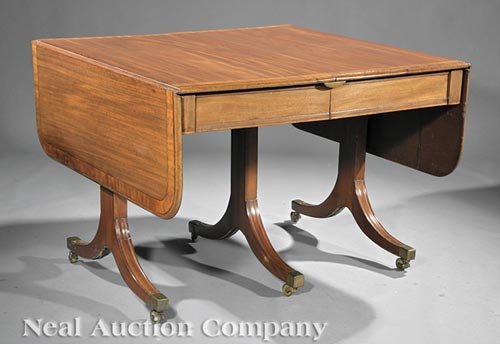 Regency-Style Carved Mahogany Dining Table