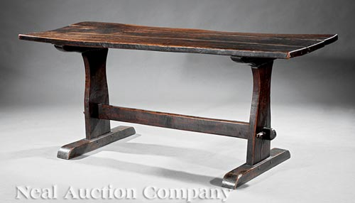 Antique Italian or Spanish Elm Trestle Table
