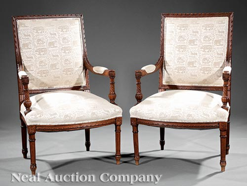 Pair of Louis XVI-Style Carved Beech Fauteuils