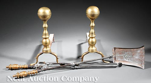 Pair of American Brass and Iron Andirons