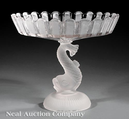 American Frosted and Cut Glass Figural Tazza