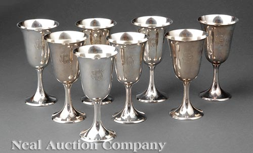 Eight American Sterling Silver Water Goblets