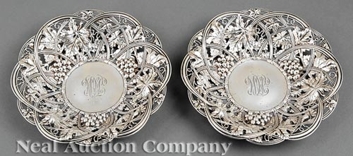 Pair of Bonbon Dishes, Whiting Mfg. Co.