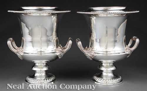 Pair of Regency-Style Silverplate Wine Coolers