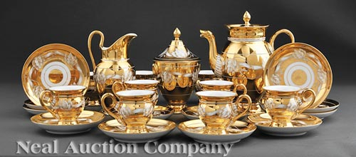 French Gilt Porcelain Coffee Service