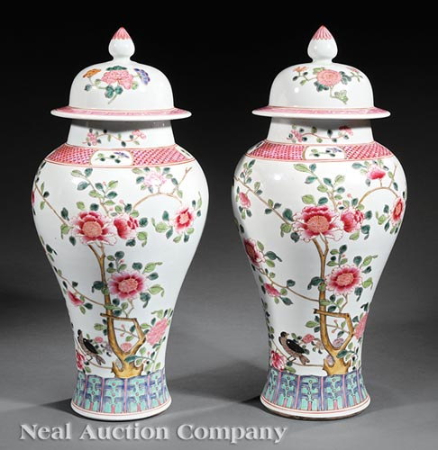 Pair of Chinese Export-Style Famille Rose Jars