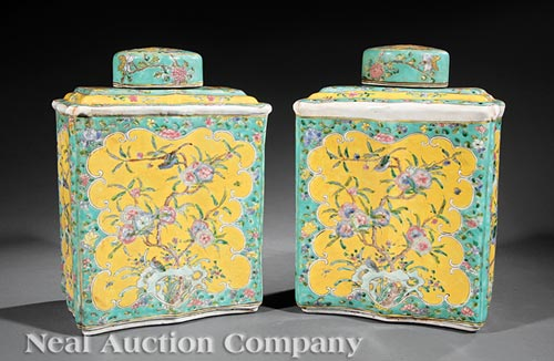 Pair of Chinese Export Famille Rose Tea Caddies