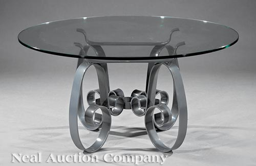 Contemporary Wrought Iron and Glass Low Table