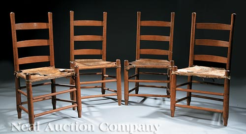 Four Antique Acadian Hardwood Ladderback Chairs
