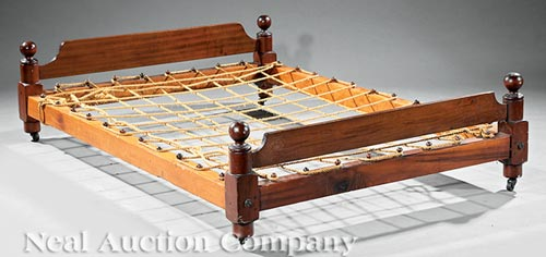 Antique American Walnut Rope Trundle Bed