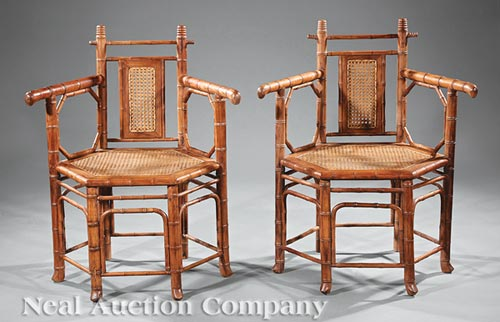 Pair of Anglo-Colonial Hardwood Chairs