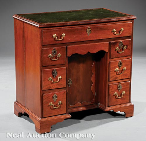 Antique George III-Style Mahogany Kneehole Desk