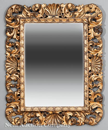 Continental Carved and Gilded Mirror