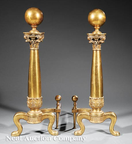 Large Pair of American Brass Andirons