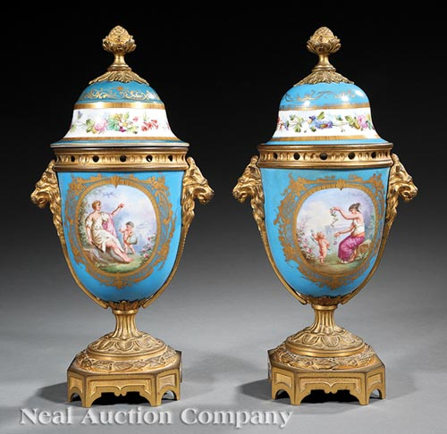 Pair of Sevres-Style Lidded Urns
