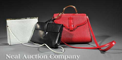 Two Judith Leiber Pleated Leather Handbags