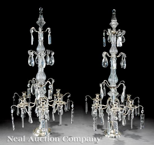 Pair of French Silvered Metal Girandoles